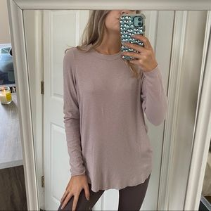 Aerie Real Soft Long Sleeve Top Earth Tone Pink